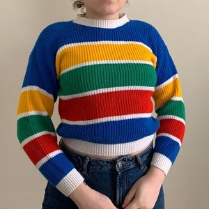amazing vintage striped knit cropped sweater XS/S